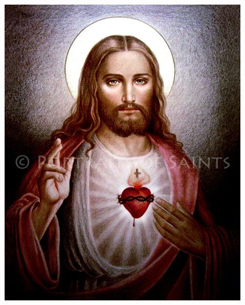 The Sacred Heart of Jesus B 8x10 Catholic Art by PortraitsofSaints