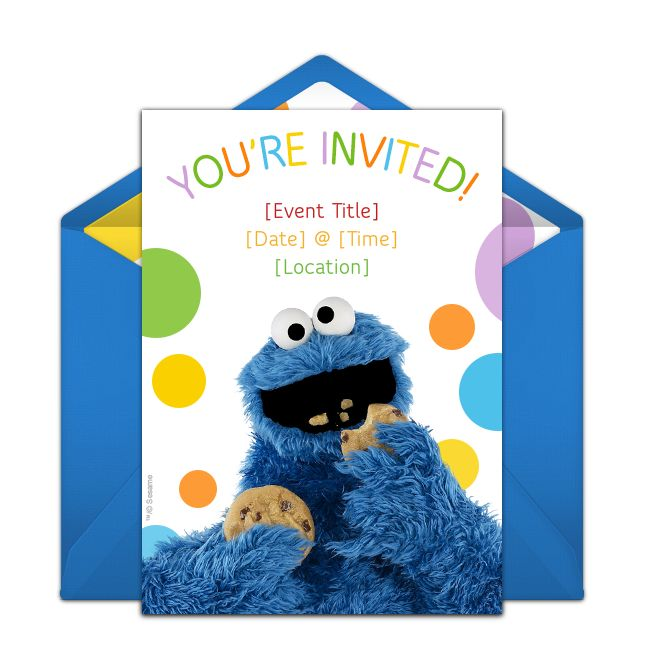 free cookie monster invitations in 2018 first bday birthday