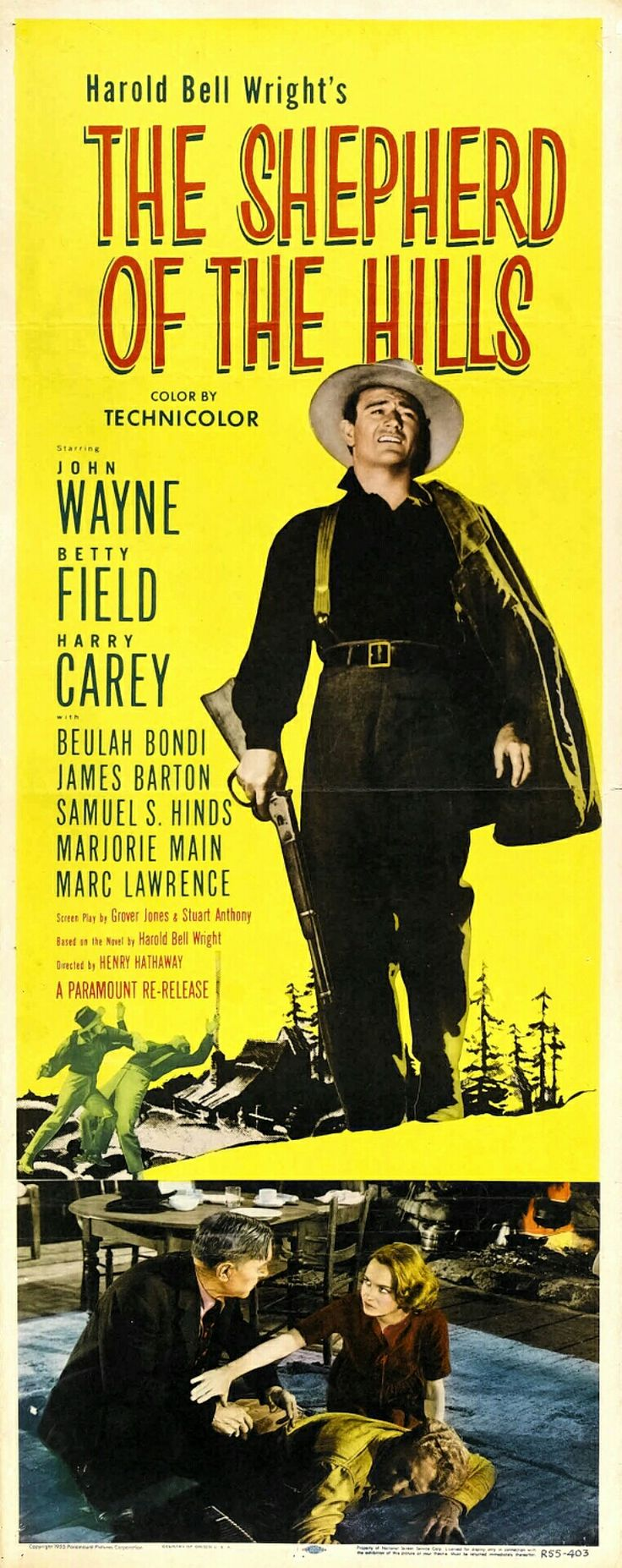 The Shepherd of the Hills is a 1941 American drama film starring John Wayne, Betty Field and Harry Carey. The supporting cast includes Beulah Bondi, Ward Bond, Marjorie Main and John Qualen. The picture was Wayne's first film in Technicolor and was based on the novel of the same name by Harold Bell Wright. The director was Henry Hathaway, who directed several other Wayne films including True Grit almost three decades later.