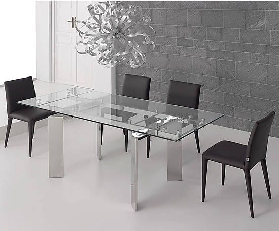 mesa de comedor de acero y cristal hammer ii