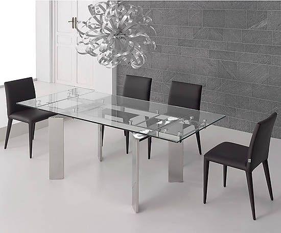 Mesa de comedor de acero y cristal hammer ii mesa - Mesa comedor cristal y acero ...
