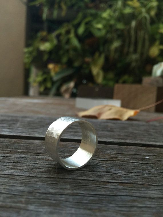 FREESHIP Argentium Wide silver hammered ring by SilverPinions