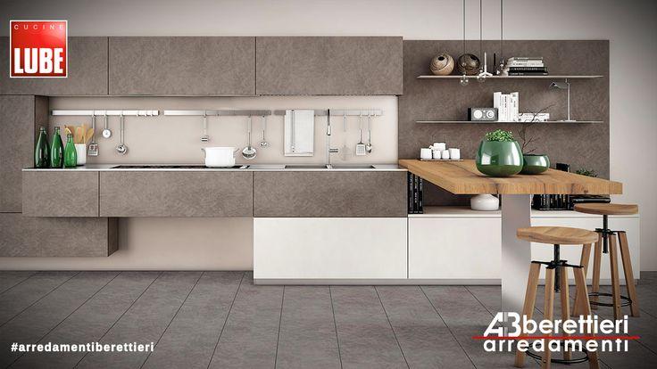 Cucine Lube - Modello OLTRE Presentato a Milano nelle sue varie inclinazioni: Industrial, Minimal, Metropolitano... con inserimento di materiali di pregio