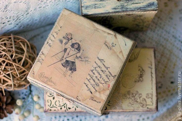 Купить Шкатулка деревянная Старые письма бежевый кремовый - бежевый, винтаж, винтажный стиль