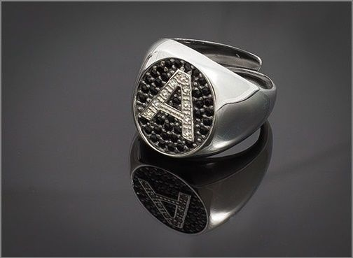 Anello Donna Think Positive regolabile con iniziale A in argento 925 e swarovski