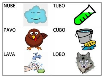 18 Flashcards of Spanish CVCV, CVCVCV, and Blend Words with the /b/ Sound in the Medial Position.18 tarjetas de Palabras en Espaol con el Sonido /b/ en la Silaba del Medio.