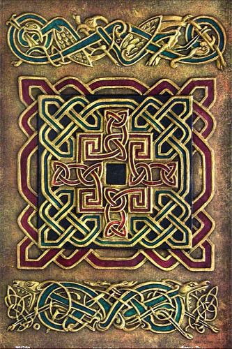 Book of Kells. Traditional Celtic knots.                                                                                                                                                     More