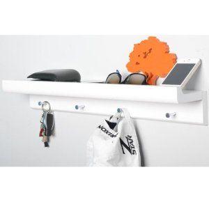 OAKLEY - Wall Mounted Organiser Shelf with 4 Key / Coat Hooks - White: Amazon.co.uk: Kitchen & Home