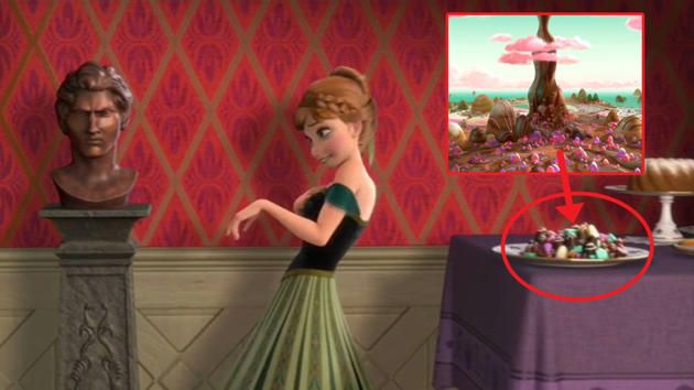 The plate of chocolates that Anna stuffs into her mouth during 'For The First Time In Forever' in Frozen is a nod to Sugar Rush, the sickly-sweet fantasy world of Disney's last animation Wreck-It...