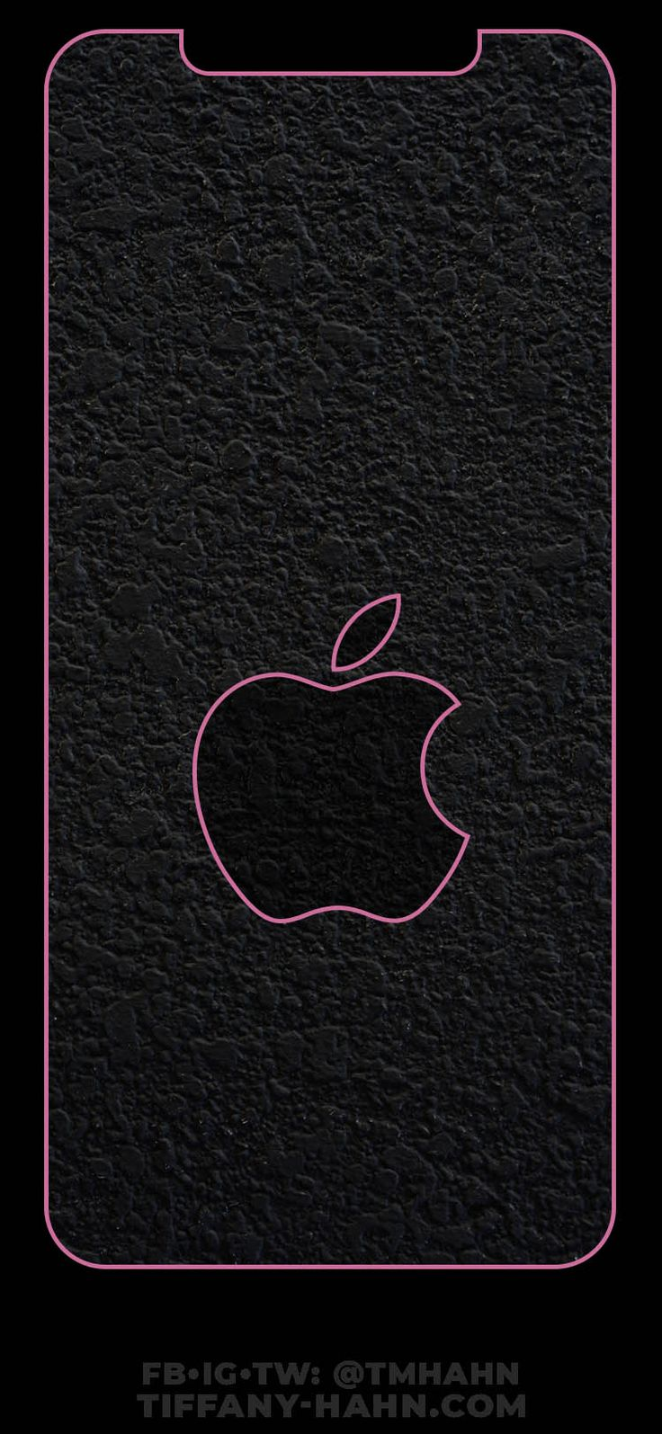 iPhone XS Max Wallpaper Pink Outline Gray Apple Lock