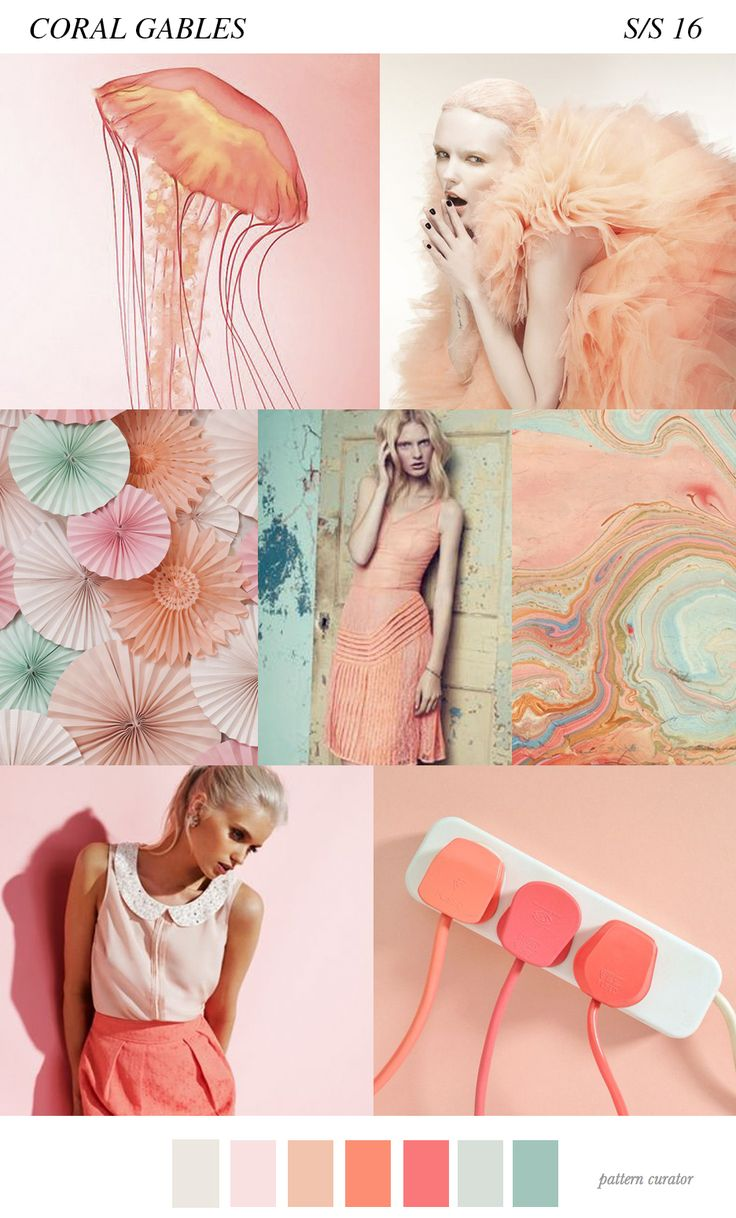 3 Pattern Trends S/S16-Pattern Curator for Eclectic Trends / coral gables pastel, peach, turquoise moodboard / palette