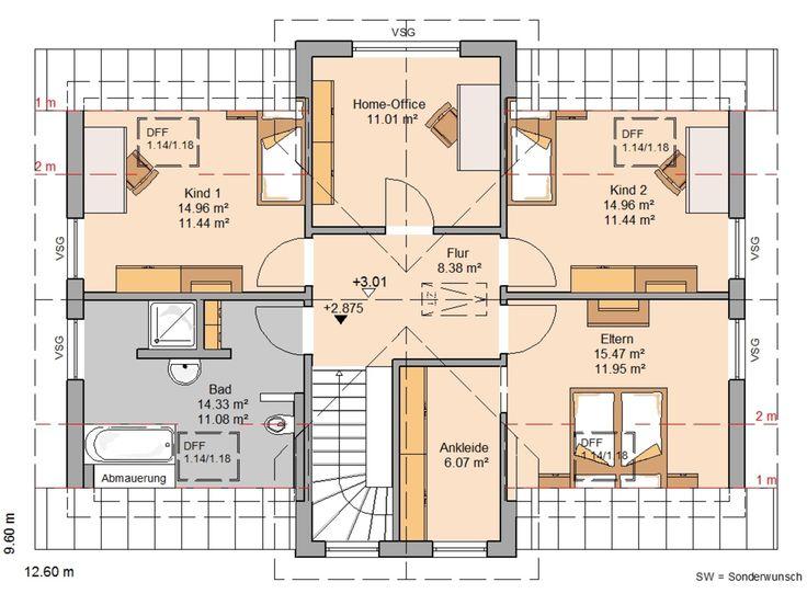 Einfamilienhaus grundriss 3 kinderzimmer  328 besten Haus Bilder auf Pinterest | Grundrisse, Haus grundrisse ...