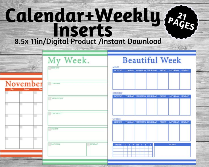 weekly organization, everyday organization, printouts, inserts, to do list, calendars, getting organize, meal prepping, exercise, habit tracker, notes, Monday, Tuesday, Wednesday, Thursday, Friday, Saturday, Sunday, yearly planning