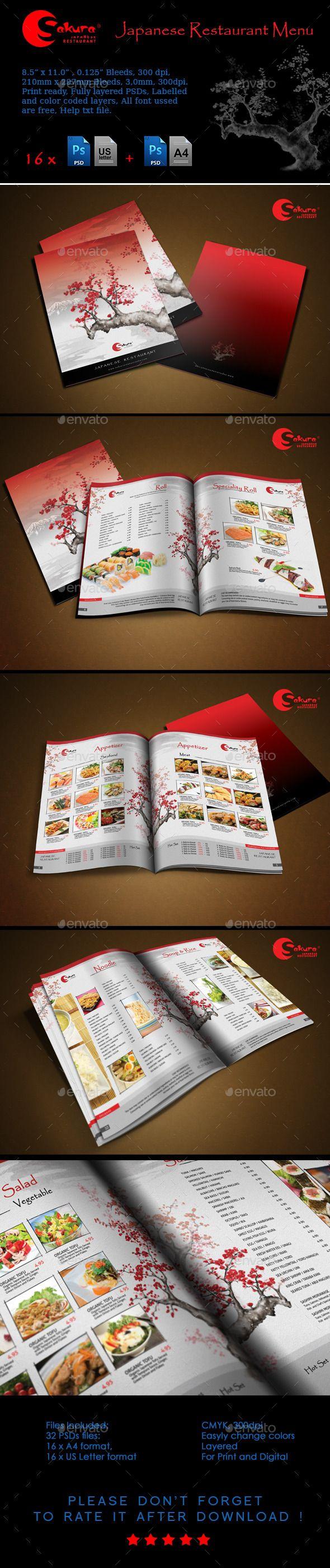 Sakura Restaurant Menu - Food Menus Print Templates Download here : http://graphicriver.net/item/sakura-restaurant-menu/5659896?s_rank=1292&ref=Al-fatih