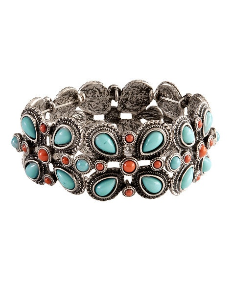 Faux Turquoise & Coral Flower Stretch Bracelet: Stretch Bracelets, Bracelet Lovveeee, Jewelry Bracelets, Flower Stretch, Turquoise Coral, Faux Turquoise, Coral Flower