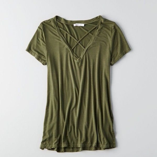 Don't Ask Why Harness V-Neck T-Shirt ($30) ❤ liked on Polyvore featuring tops, t-shirts, green, green top, v neck t shirts, v neck tee, form fitting tops and vneck t shirts