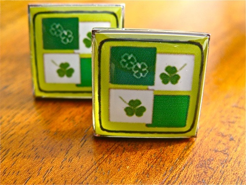 "Lucky clovers cufflinks: the so-called ""Lucky Clovers"" seen here on a pair of cufflinks which, when gifted as a present would theoretically give the wearer greater luck"