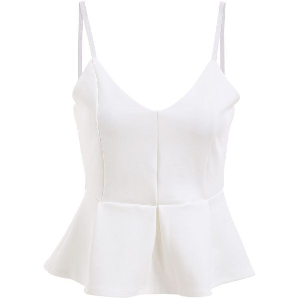 Spaghetti Strap Peplum Hem White Cami Top (€8,64) ❤ liked on Polyvore featuring tops, shirts, crop tops, white, blusas, peplum shirt, white vest, white top, white vest top i crop top