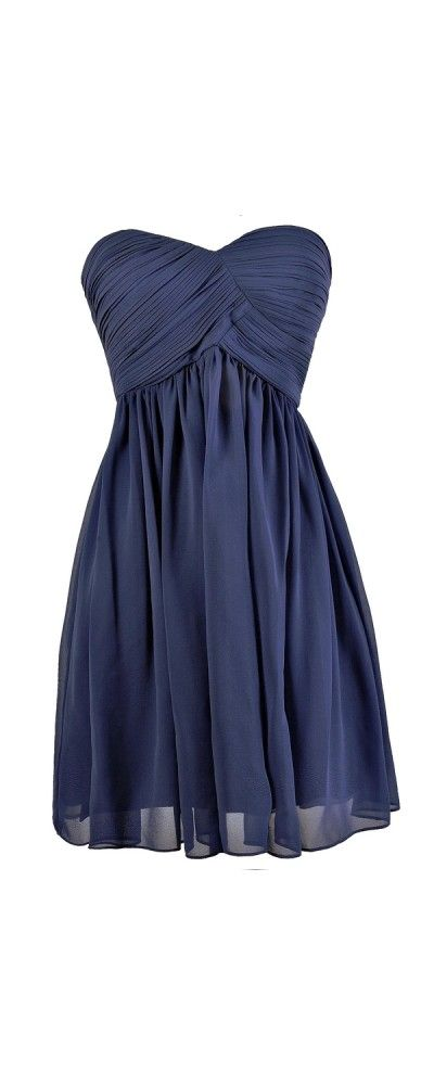 Always a Bridesmaid Pleated Strapless Dress in Blue  www.lilyboutique.com