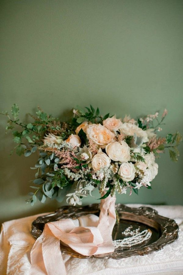 Inspiration for a romantic garden lodge wedding in forest green and blushing peach with rustic chic details - perfect for spring!