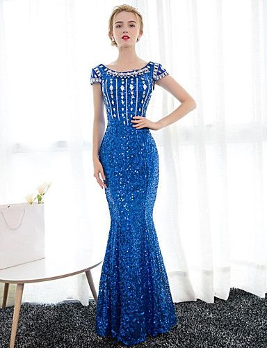 a4bf59cee83 Mermaid   Trumpet Boat Neck Floor Length Satin   Sequined Sparkle   Shine Formal  Evening Dress with Sequin   Crystals by LAN TING Express