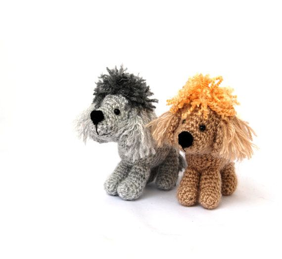 $36.68 POODLE crochet doll, silver poodle and champagne #poodle, miniature dog, gift for #doglovers, #bohogift, tiny soft dog, creepycute gift by crochAndi