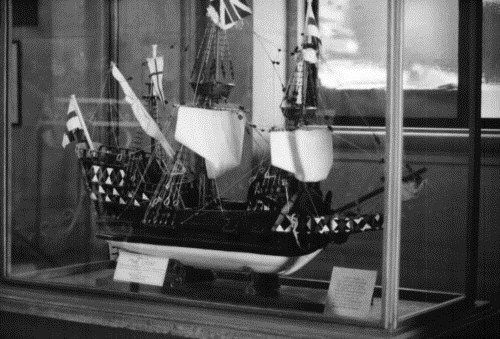 Model of the ship, Lyon, located in the lobby of city hall, Braintree, Essex, UK. John and George Steele, among the original founders of Hartford, CT and their families arrived on this ship from England.