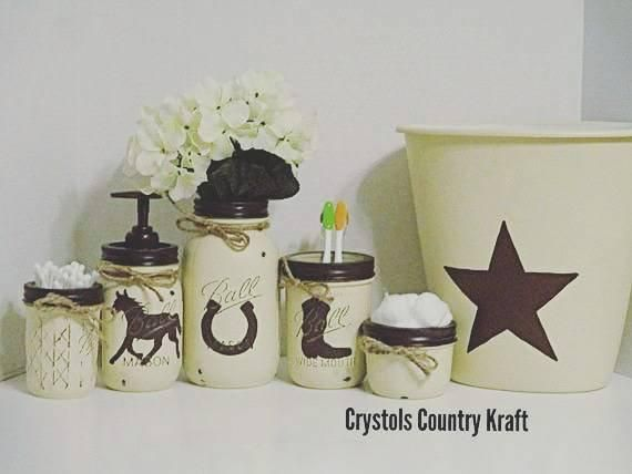 Western Bathroom Decor Western Soap Toothbrush Holder Western Star Trash Can Horseshoe Decor Cream And Brown Western Bathroom Decor Western Bathrooms Bathroom Decor