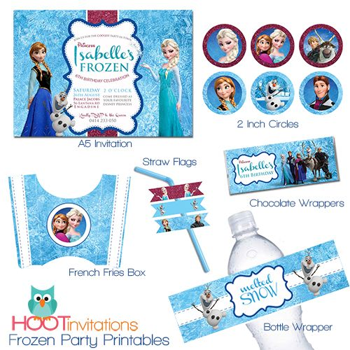 Frozen Party Printable invitations www.hootinvitations.com.au #frozeninvitation #frozenparty #frozenprintables