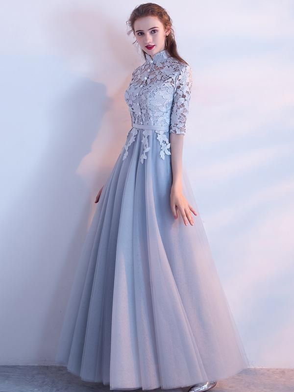 50fb8be1774 A-line High Neck Floor-length Half sleeve Tulle Prom Dress Evening Dress    VB439