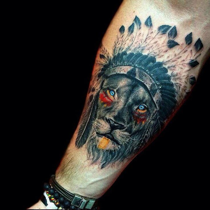 Tattoo idea. Dope Indian chief lion