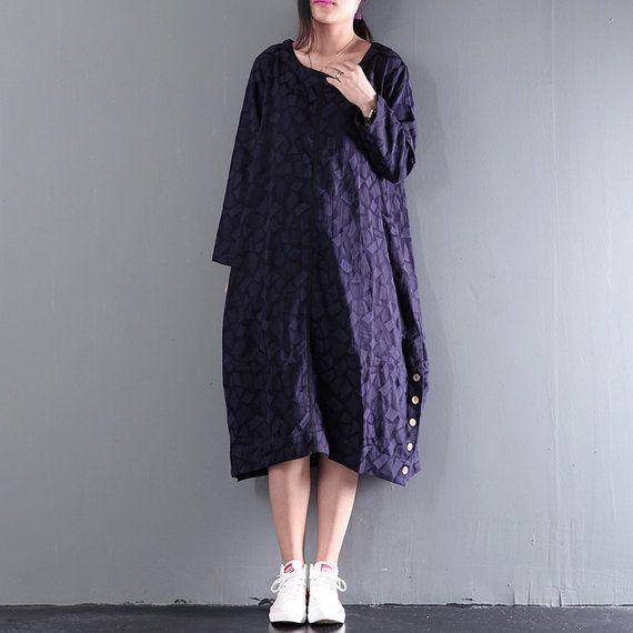 Women autumn dress loose linen plaid dress texture от Aliceswool