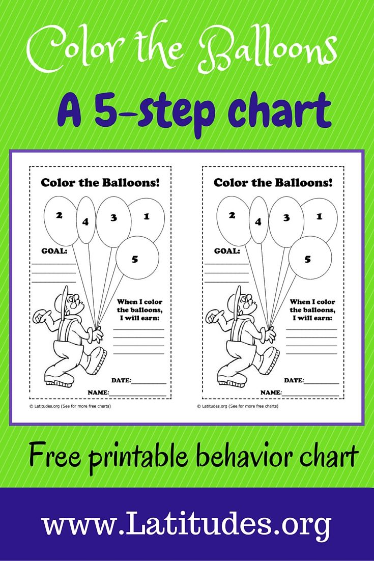 This coloring the balloons behavior chart is best used for encouraging a single behavior at home or school. Depending on the type of action desired, this chart can be used for either a specific behavior taking place or on a time interval (such as on the half hour) when a level of the behavior has been reached.