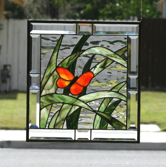 BUTTERFLY ~ Contemporary Stained Glass Window Panel with Orange and Gold Butterfly, Green Grasses, and Clear Bevels This stunning window panel