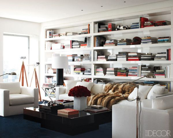 I love a whole wall of shelving.Ralph Lauren, Elle Decor, Livingroom, Interiors, Living Room, Book, Elledecor, Design, Manhattan Apartment