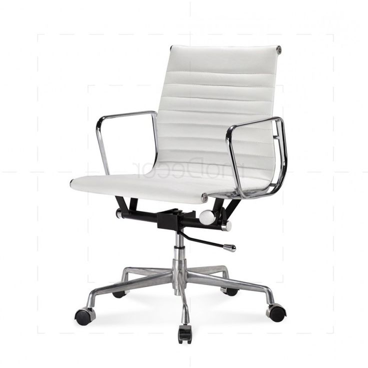 Eames office chair low back ribbed white leather