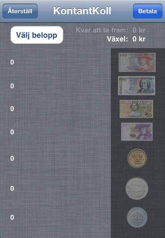 Appen KontantKoll kan hjälpa dig välja ut de mynt och sedlar som är bra att betala med.  Sätt priset och de röda markeringarna visar v...