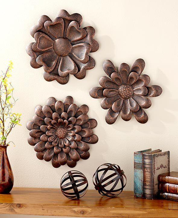3 Large Metal Bronze Flower Wall Sculptures Art Living Room Home Decor