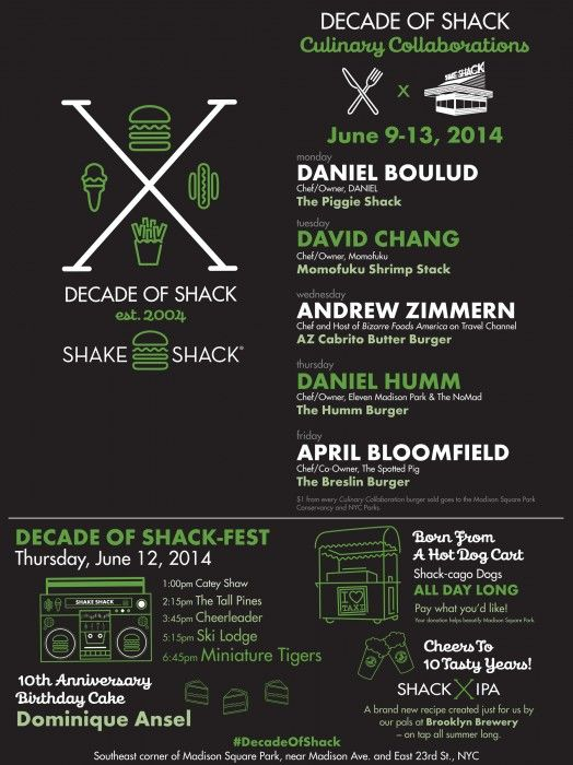 "Shake Shack to Celebrate ""Decade of Shack"" in NYC from June 9th-13th 