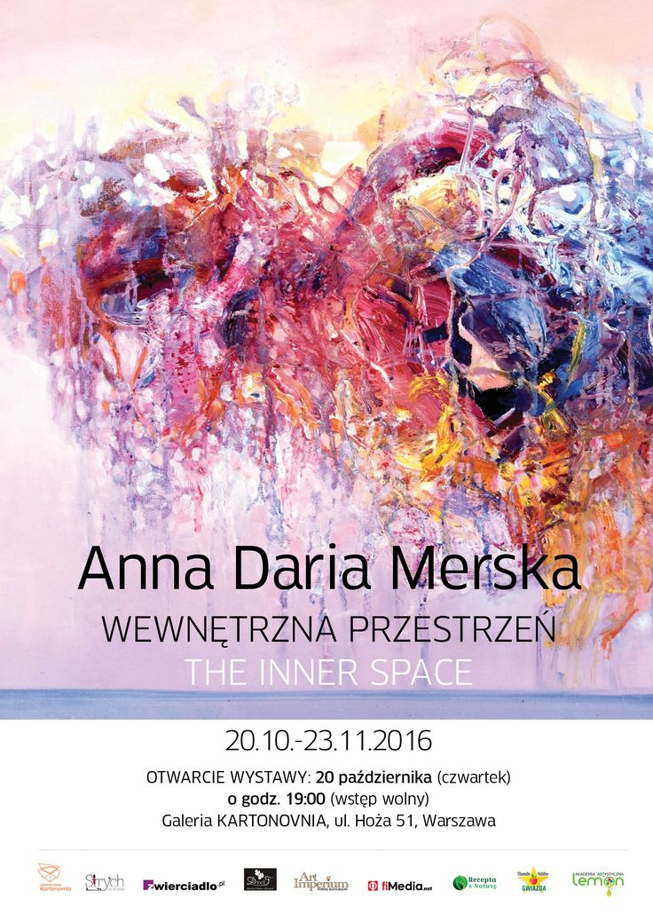 Anna Daria Merska - WEWNĘTRZNA PRZESTRZEŃ - wystawa w Kartonovni w Warszawie - od 20 października do 23 listopada 2016 r. http://artimperium.pl/wiadomosci/pokaz/763,anna-daria-merska-wewnetrzna-przestrzen-kartonovnia#.V_6ihfmLTIU