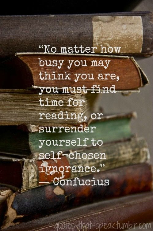 """""""No matter how busy you may think you are, you must find time for reading, or surrender yourself to self-chosen ignorance."""" - Confucius"""