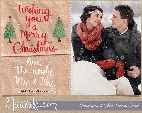 Newlywed Christmas Card Hand painted by Naavale on Etsy, $18.00