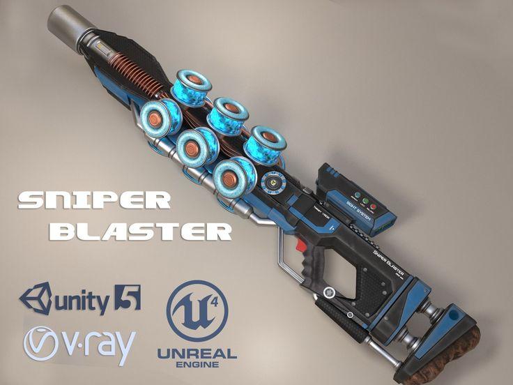 sniper blaster rifle 3d model max obj fbx mtl unitypackage 1