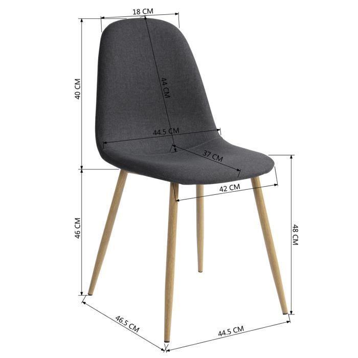 Lot de 4 Chaises de Salle à Manger Style Scandinave en Tissu