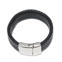 Black Braiding Leather Bracelet