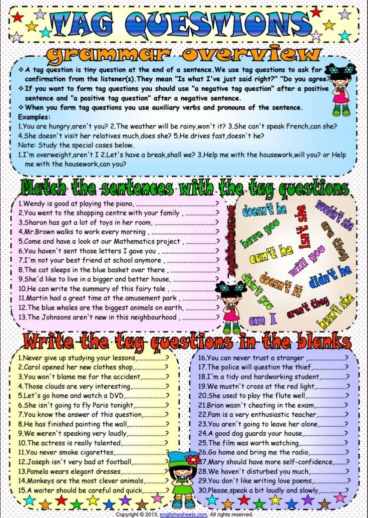 Tag Questions ESL Grammar Exercises Worksheet   Tag ...