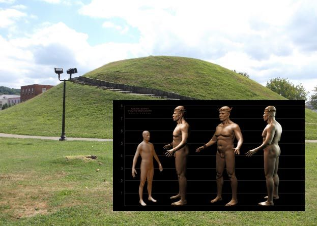 Adena Giant Mound Builders - In the 1800s, reports began to surface of the discovery of very large skeletal remains in the burial mounds of North America. These skeletons were described as reaching seven to eight feet (2.4 meters) in length, with a lower frequency of discoveries spanning nine to 11 feet (3.3 meters) in length, and having very large skulls and gigantic lower jawbones.