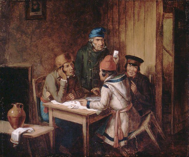 A game of cards by Cornelius Krieghoff, 1848