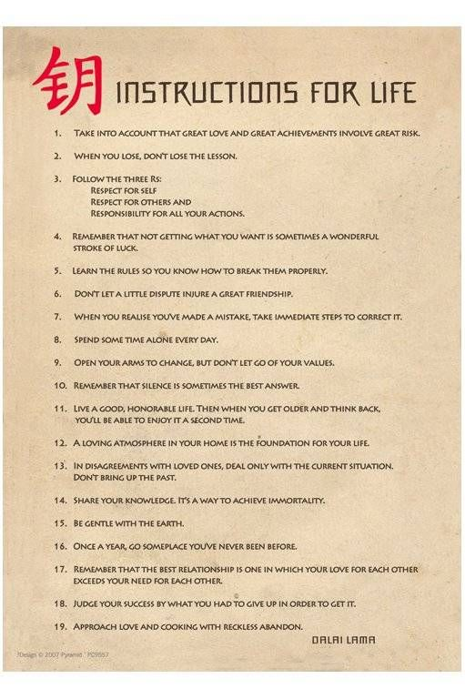 The Dalai Lama's instructions for life.  Excellent! Number 9 is really important!