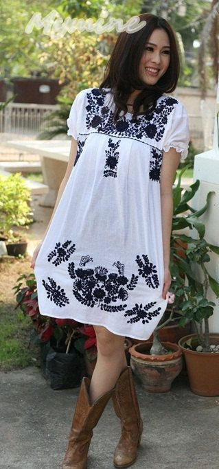 OMG!   R u kidding!!! i love this!!!!!!!! ❤❤❤❤❤Vintage Mexican style Puff sleeves Dress White  embroidered ❤❤❤❤❤I have to have this and the boots too!